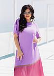 Летнее платье с коротким рукавом в больших размерах асимметричное комбинированное (р. 50-60) 11551, фото 6