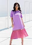 Летнее платье с коротким рукавом в больших размерах асимметричное комбинированное (р. 50-60) 11551, фото 3