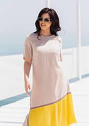 Летнее платье с коротким рукавом в больших размерах асимметричное комбинированное (р. 50-60) 11551