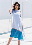 Летнее платье с коротким рукавом в больших размерах асимметричное комбинированное (р. 50-60) 11551, фото 5