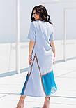 Летнее платье с коротким рукавом в больших размерах асимметричное комбинированное (р. 50-60) 11551, фото 4