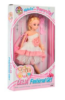 Лялька Lelia Fashional Girl L0464 27см біле плаття з рожевим з аксесуарами
