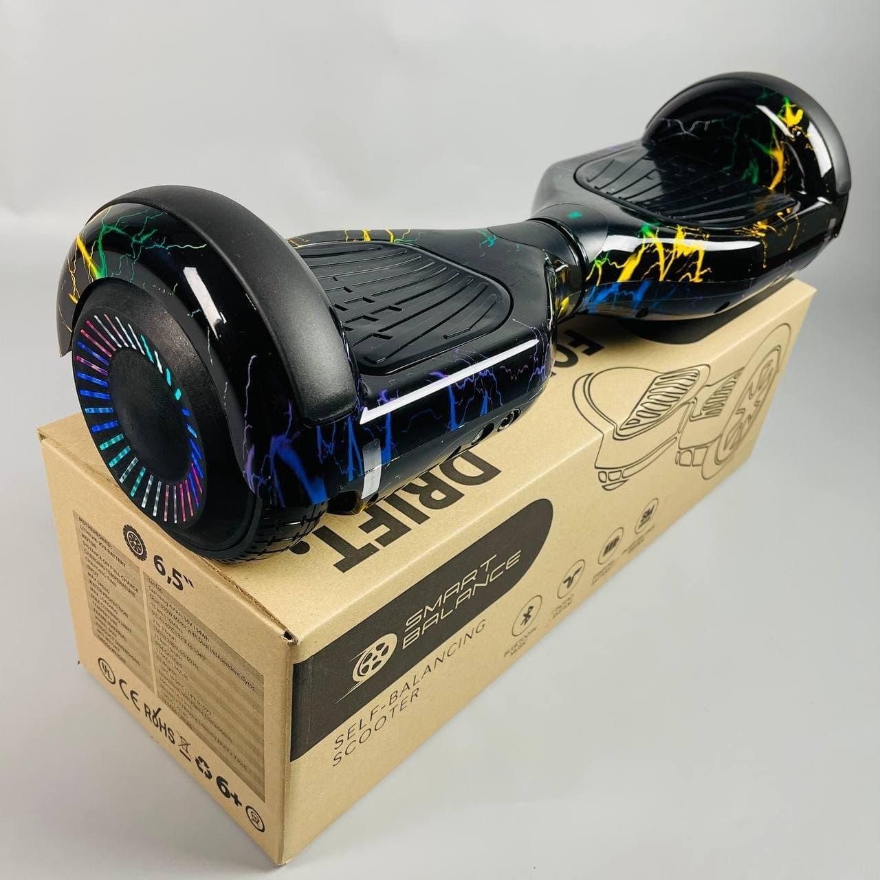 Гироскутер Smart Balance Wheel Pro 6.5 Цветная молния самобаланс | Гироборд Смарт Баланс черный с подсветкой