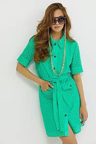Женское льняное короткое платье-рубашка (Рисса jd)