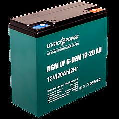 Тяговый аккумулятор для электромопедов AGM LogicPower LP 6-DZM-20 (12В, 20Ач)