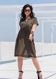 Приталенное платье в больших размерах летнее с расклешенной юбкой и коротким рукавом (р. 50-60) 11554