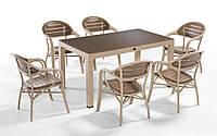 """Комплект садовой высококачественной мебели """"Bamboo For 6"""" (стол 90*150, 6 кресла) Novussi, Турция"""