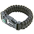 Туристичний браслет з паракорду Paracord Fire Starter Bracelet TY-6836 тактичний браслет (Чорний), фото 2