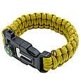 Туристический браслет из паракорда с компасом Paracord Fire Starter Bracelet TY-6836 (Олива) (GK), фото 2