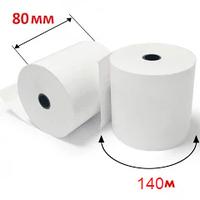 Кассовая лента 80 мм на 140м термо| Чековая бумага для кассовых аппаратов, втулка 12мм КЛТ.80tх140х12