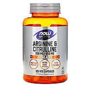 Аргинин и Цитрулин, 500мг\250 мг, Now Foods, 120 вегетарианских капсул
