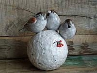 Настольная скульптура Воробьи полевые. Керамика, ручная работа.