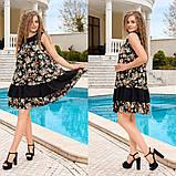 Жіночий літній сарафан вільного крою принт квіти тканина штапель розмір: 44-46, 48-50, 52-54, 56-58, фото 3