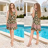 Жіночий літній сарафан вільного крою принт квіти тканина штапель розмір: 44-46, 48-50, 52-54, 56-58, фото 4