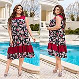 Жіночий літній сарафан вільного крою принт квіти тканина штапель розмір: 44-46, 48-50, 52-54, 56-58, фото 6