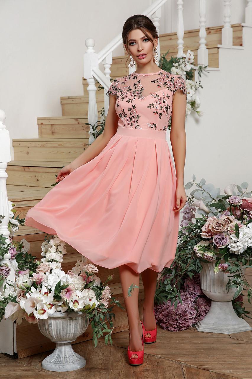 Нарядное  платье с вышивкой и шифоном розовое Айседора б/р