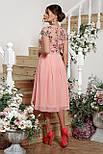 Нарядное  платье с вышивкой и шифоном розовое Айседора б/р, фото 3