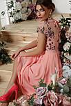 Нарядное  платье с вышивкой и шифоном розовое Айседора б/р, фото 4