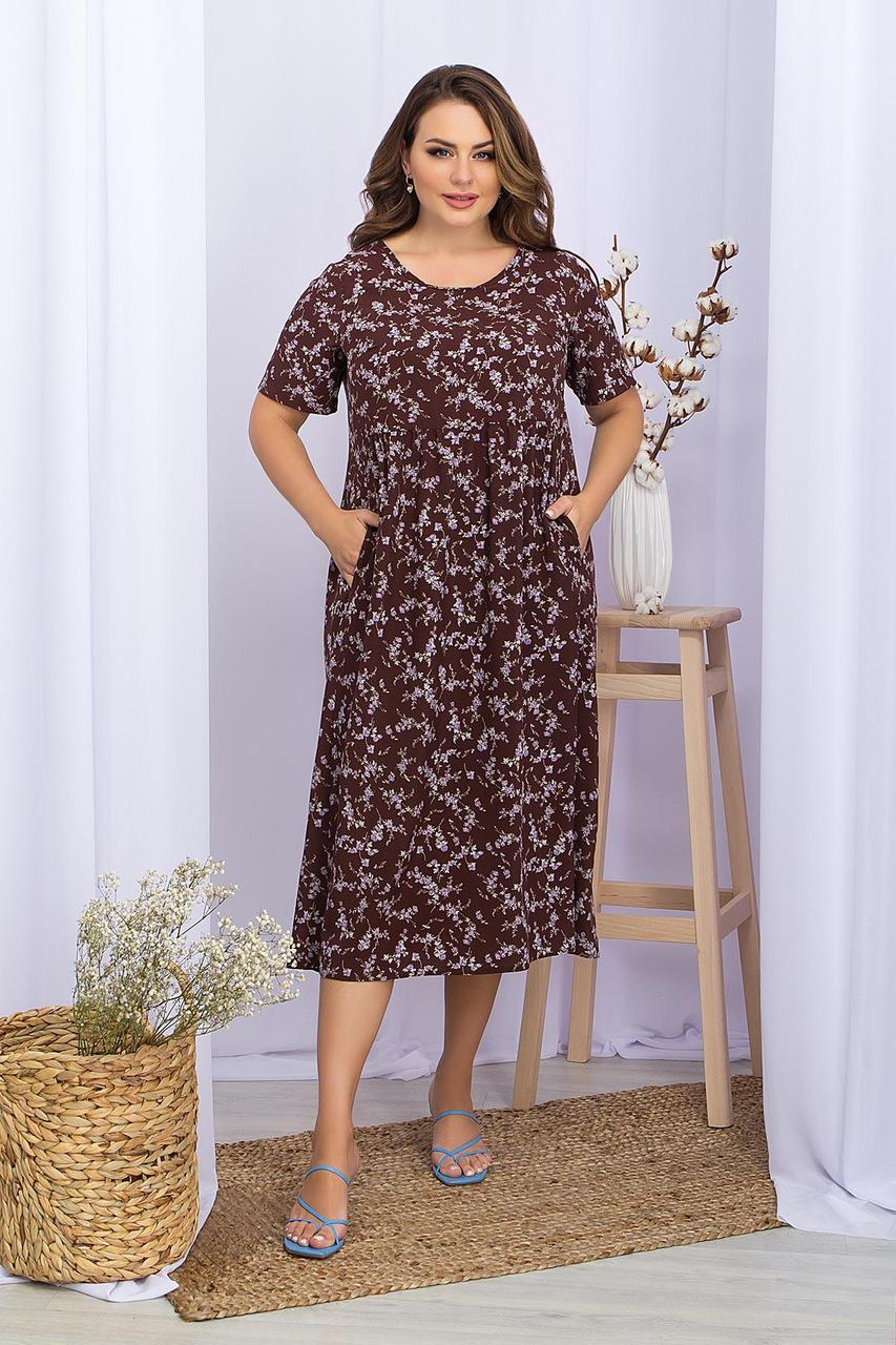 Платье   летнее из софта в цветочный принт с завышенной талией  Ирма-Б к/р