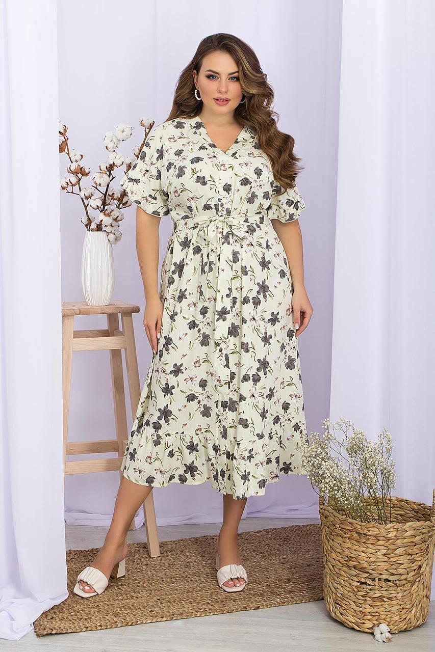 Платье летнее миди  из вискозы в цветочный принт  Пейдж-Б к/р