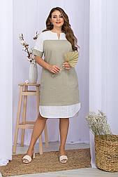 Плаття літнє комбіноване льон з прошвой пряме Sativa-Б к/р