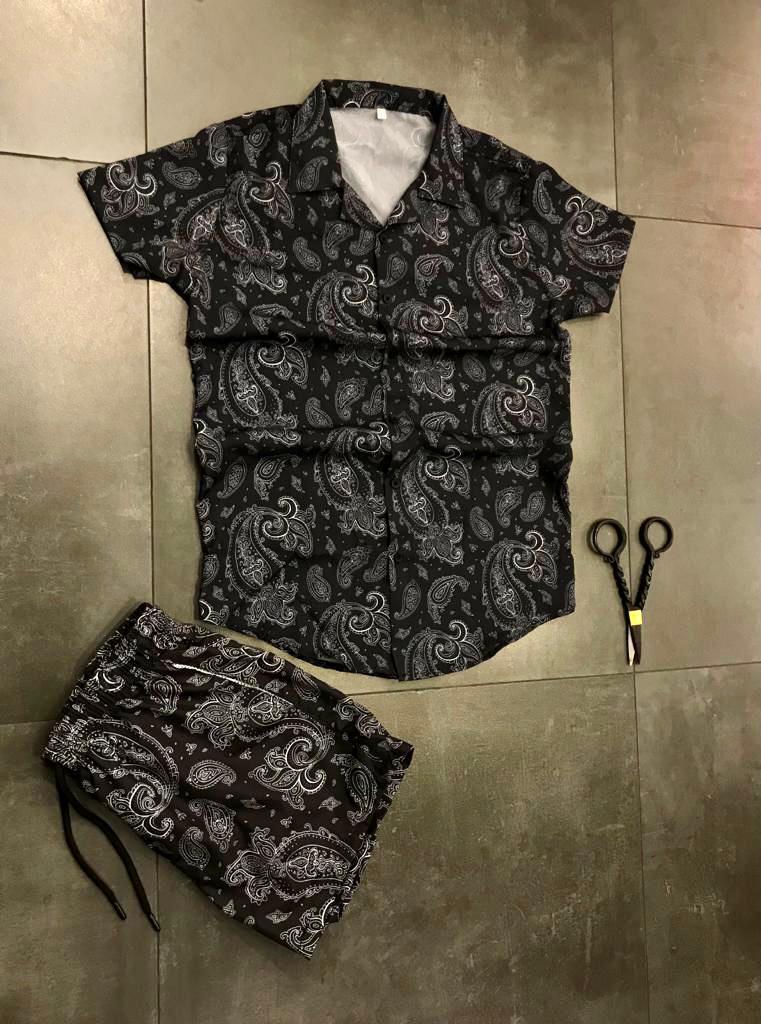 Пляжный костюм мужской черного цвета модный шорты рубашка одежда пром