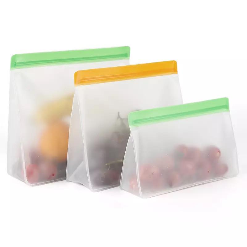 Набор многоразовых силиконовых пакетов с застежкой для хранения продуктов