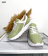Женские кожаные кроссовки с перфорацией 36-41 р фисташковый