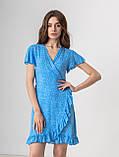 Приятное короткое летнее платье на запах в цветочный принт с V-вырезом в 5 цветах в размере S, M, L, фото 4