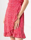 Приятное короткое летнее платье на запах в цветочный принт с V-вырезом в 5 цветах в размере S, M, L, фото 7