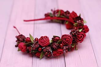 Обруч для волос / ободок на голову / украшение для волос с цветами бордовый