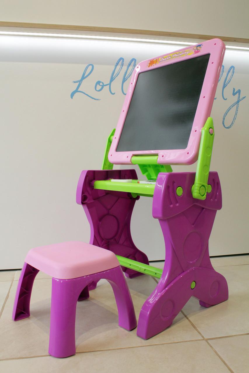 Мольберт-столик зі стільчиком Рожевий
