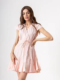 Летнее короткое платье на запах с юбкой колокольчик с рюшами  в 4 цветах в размере S, М, L.