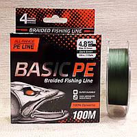Шнур Select Basic PE 100m (темн-зел.) 0.10 mm 10LB/4.8 кг