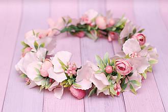 Венок для волос / веночек на голову / украшение для волос с цветами нежно-коралловый