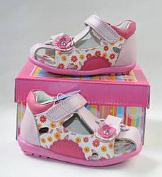 Детские босоножки сандалии для девочки розовые кожа 23р 14.3см Calorie