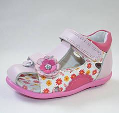 Детские босоножки сандалии для девочки розовые кожа 22р 14см Calorie