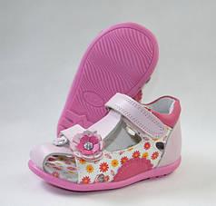 Детские босоножки сандалии для девочки розовые кожа 21р 13.5см Calorie