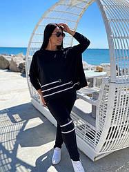 Спортивный костюм женский, батал, цвет черный  89010-1, 50-52, 54-56, 58-60р.