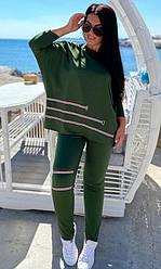 Спортивный костюм женский, батал, цвет хаки, 89010-2, 50-52, 54-56, 58-60р.