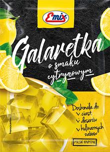 Желе (галаретка) со вкусом лимона Galaretka Emix, в пакетиках 79г (Польша), Оригинал