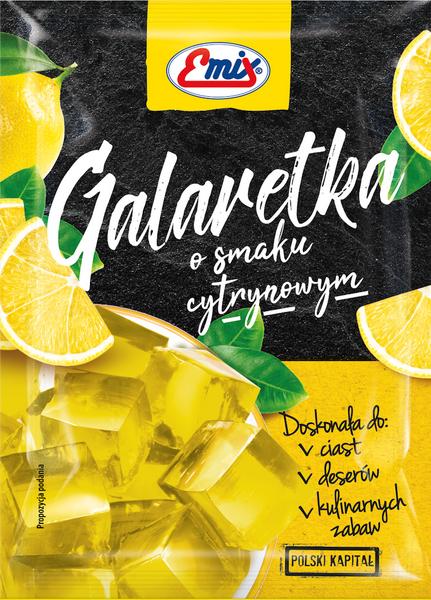 Желе (галаретка) зі смаком лимона Galaretka Emix, в пакетиках 79г (Польща), Оригінал