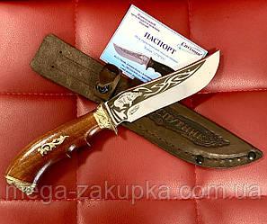 Нож для охотника Кабан, сделано в Украине ручная работа, кожаный чехол и паспорт в комплекте
