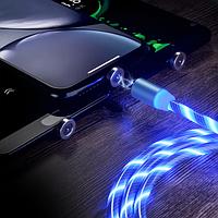 Магнитный зарядный кабель для мобильного телефона 1м светящийся шнур зарядное устройство провод Type C