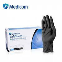 """Перчатки нитриловые неопудренные Medicom Black """"XL"""" 100 шт (50 пар) черные"""