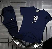 Спортивный мужской костюм, футболка с брюками, темно-синий