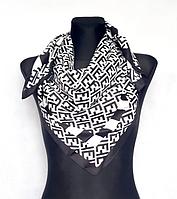 Шелковый платок Энди 90*90 см черно-белый 2