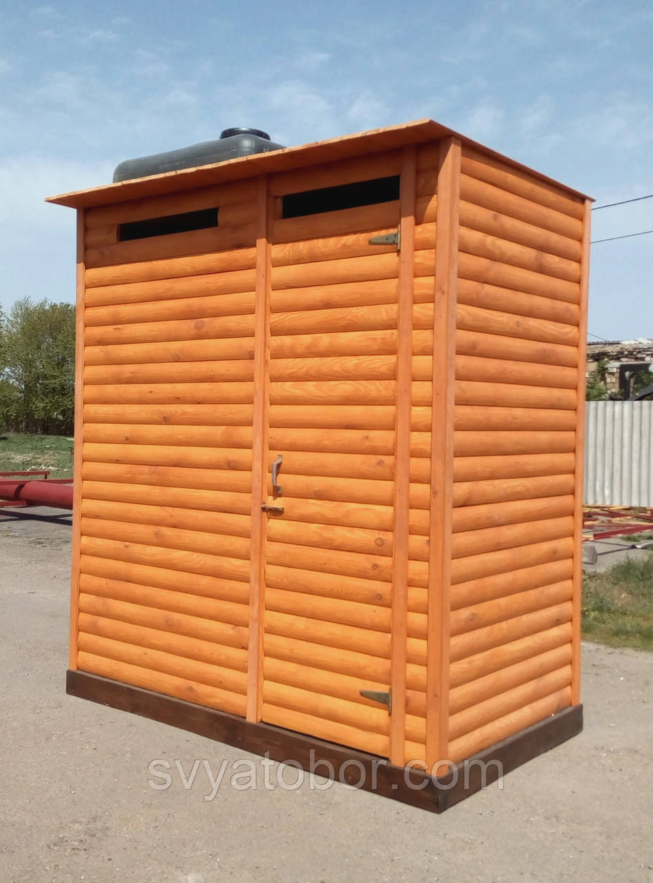 Душ деревянный летний (с предбанником) из блок-хауса закрытого типа (в разобранном виде)