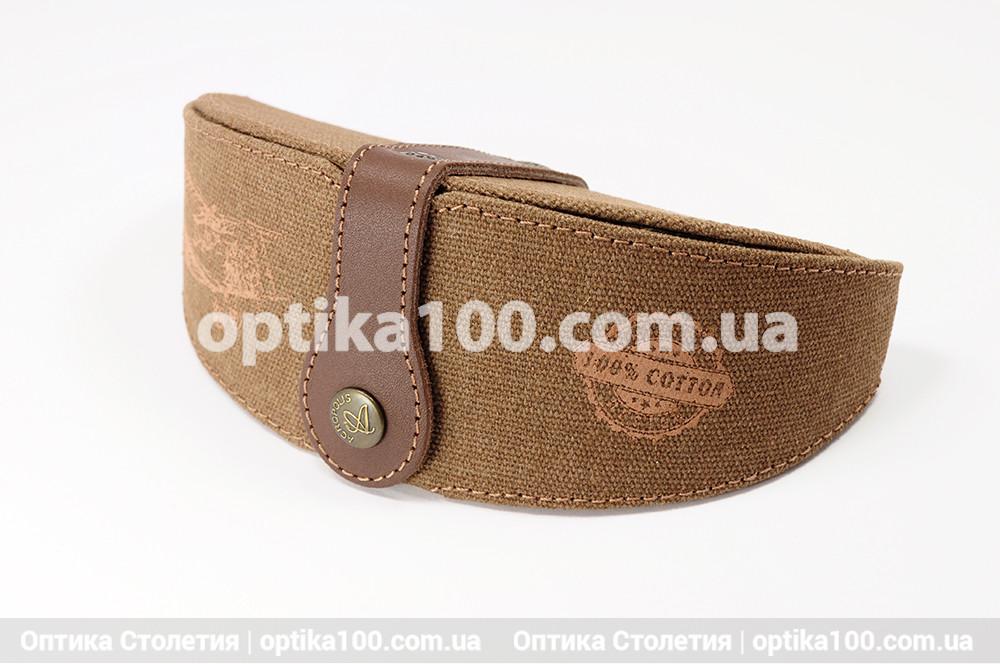 Джинсовый коричневый футляр для очков ручной работы с кожаной вставкой