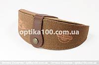 Джинсовый коричневый футляр для очков ручной работы с кожаной вставкой, фото 1